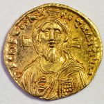A golden solidus of Justinian II (695-705), the first emperor who placed Jesus on his coins