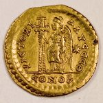A solidus of emperor Marcian (450-457); the reverse shows an angel holding a cross.